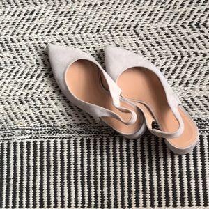 LEWIT Adriana Slingback Pump Heel (in grey suede)